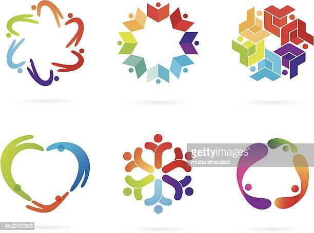 ilustraciones, imágenes clip art, dibujos animados e iconos de stock de comunidad de logotipos - agarrados de la mano