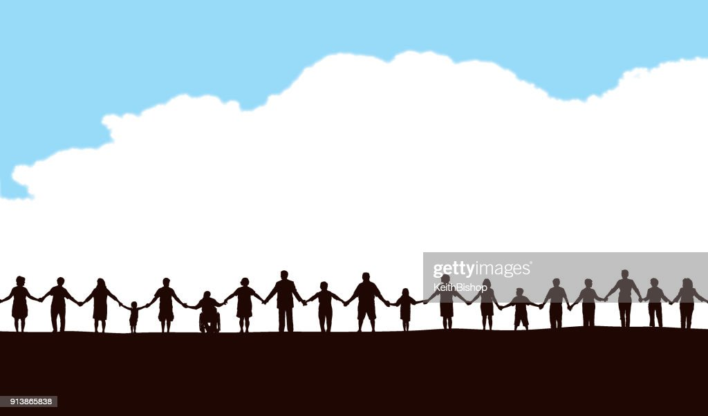 Community, People in a Row Holding Hands : stock illustration