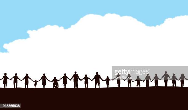 community, people in a row holding hands - togetherness stock illustrations