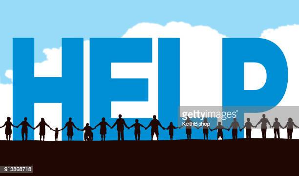 illustrations, cliparts, dessins animés et icônes de communauté, aident les personnes dans une ligne holding hands avec le texte dactylographié - assistance