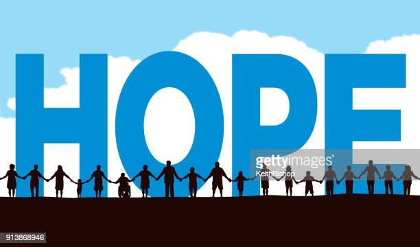 community, people in a row holding hands with the typescript hope - hope concept stock illustrations