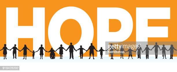 hoffnung, gemeinschaft, menschen in einer zeile holding hands mit dem typoskript - menschenreihe stock-grafiken, -clipart, -cartoons und -symbole