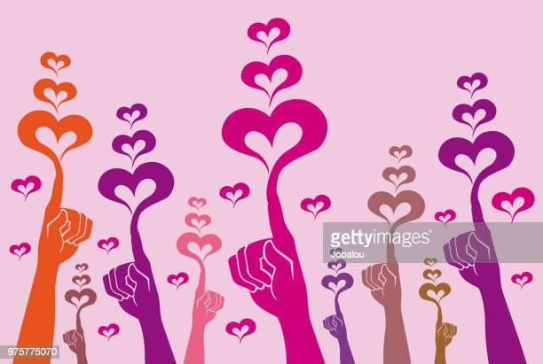 ilustraciones, imágenes clip art, dibujos animados e iconos de stock de comunidad levantó la mano con el corazón - gracias por su atencion