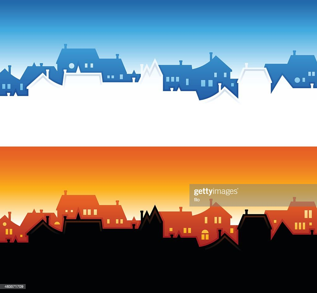 Community Skyline Backgrounds : stock illustration