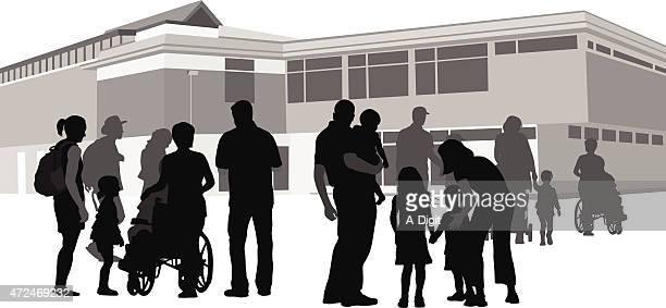 ilustraciones, imágenes clip art, dibujos animados e iconos de stock de espíritu comunitario - edificio de escuela primaria