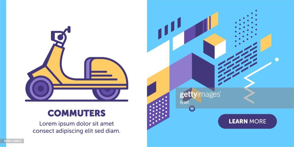Commuter Banner : stock illustration