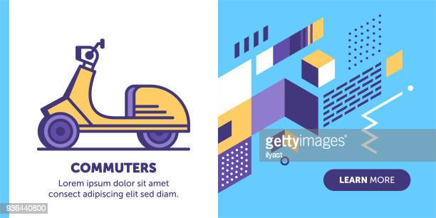 commuter banner - moped stock illustrations, clip art, cartoons, & icons
