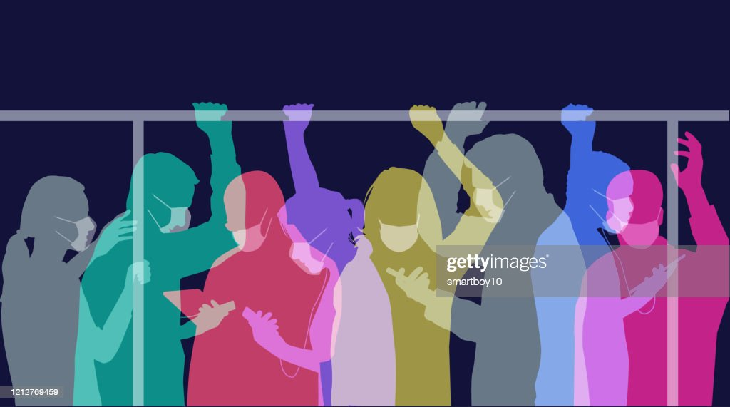 Commuters with Medical Face Masks : stock illustration