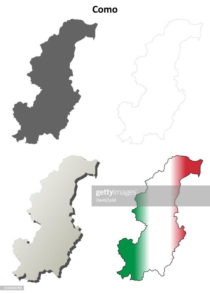 Como blank detailed outline map set