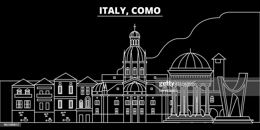 Como silhouette skyline. Italy - Como vector city, italian linear architecture, buildings. Como travel illustration, outline landmarks. Italy flat icon, italian line banner