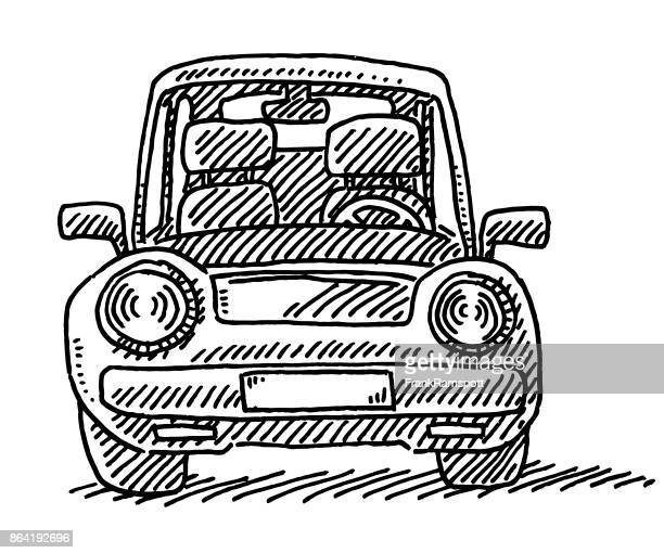 compact car front view drawing - compact car stock illustrations, clip art, cartoons, & icons