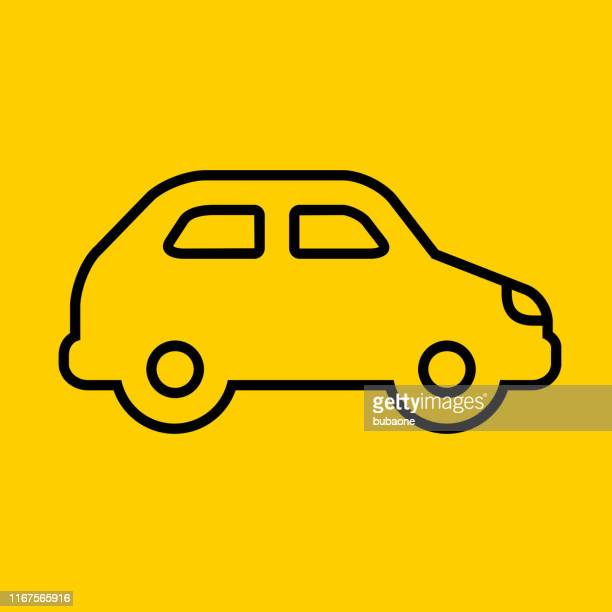 compact car side view icon - compact car stock illustrations, clip art, cartoons, & icons