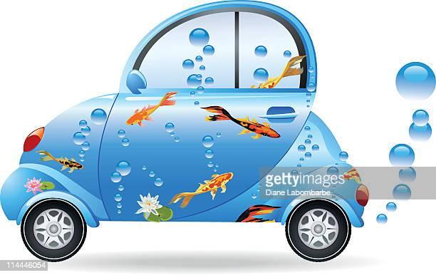 illustrations, cliparts, dessins animés et icônes de voiture compacte avec du poisson - carpe