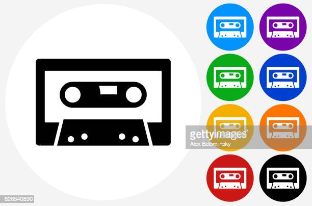 compact cassette icon on flat color circle buttons - cassette stock illustrations, clip art, cartoons, & icons