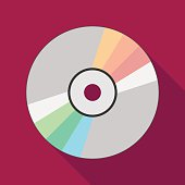 compact disc icon with long shadow. flat style illustration