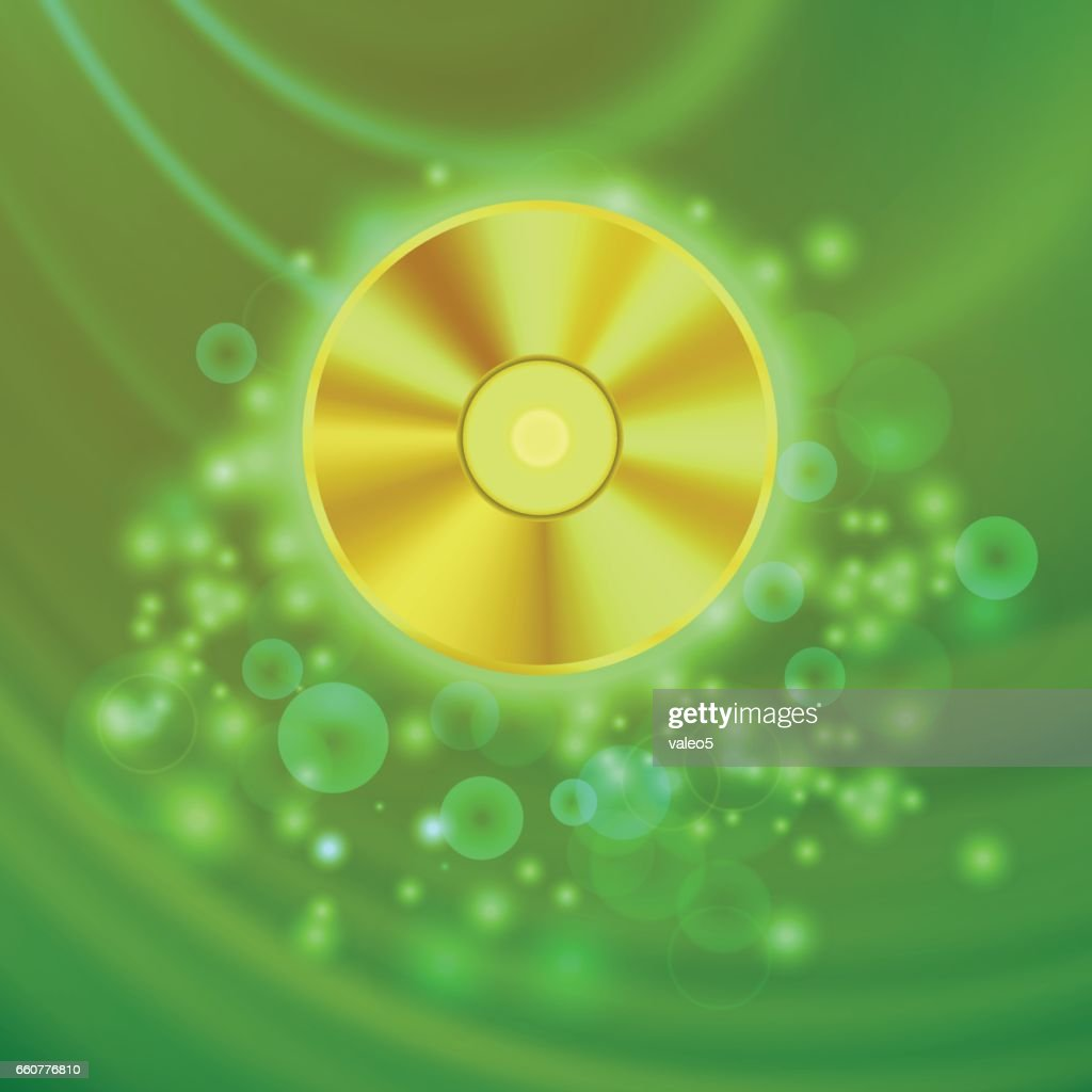 Compact Disc Isolated on Green Wave