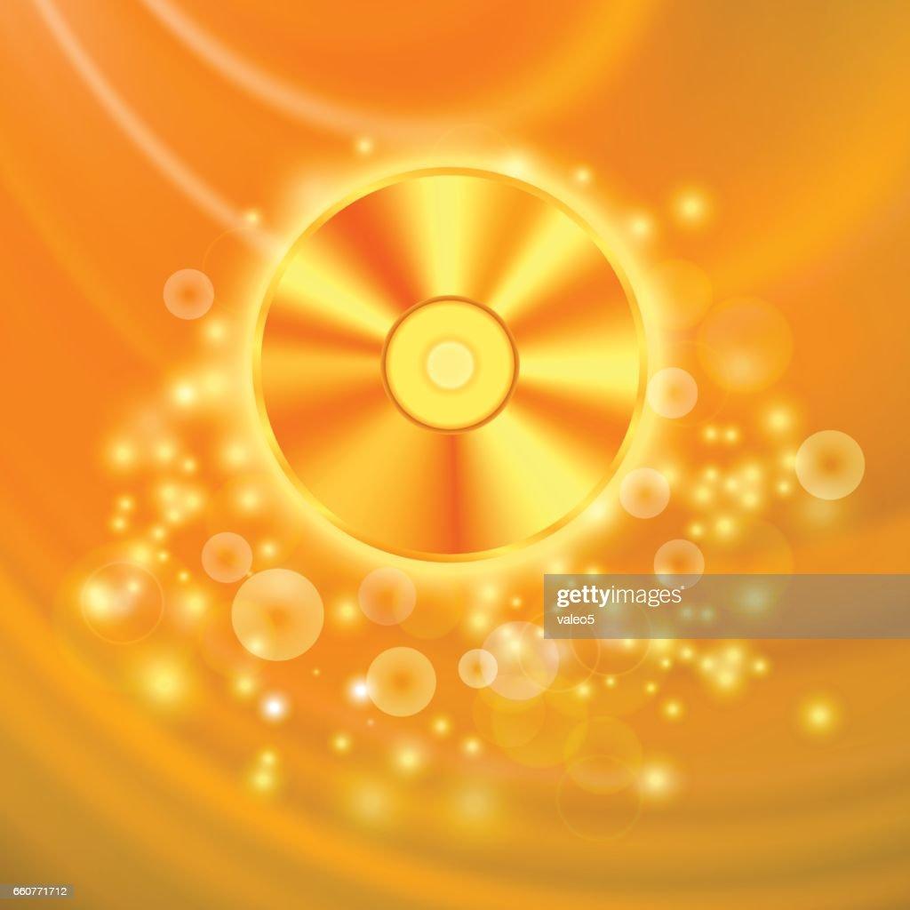 Compact Disc Isolated on Orange  Backgroun