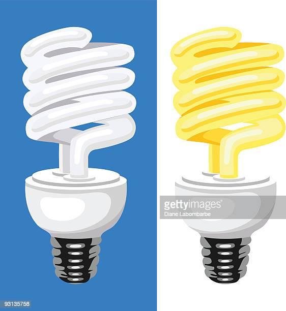 CFL (コンパクト Flouorescent ランプの電球の 2 つのイラストレーション