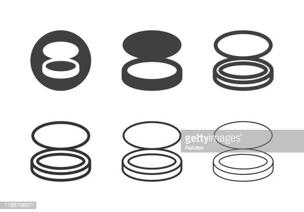 compact powder puff icons - multi series - powder paint stock illustrations