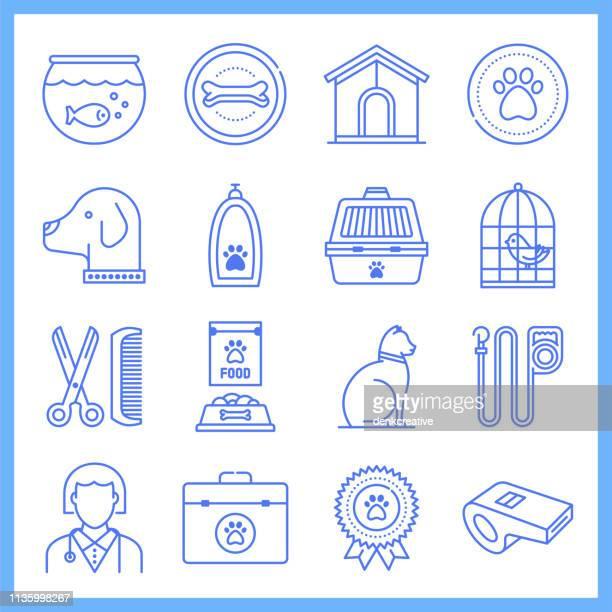 companion animal ownership blueprint style vector icon set - cat food stock illustrations