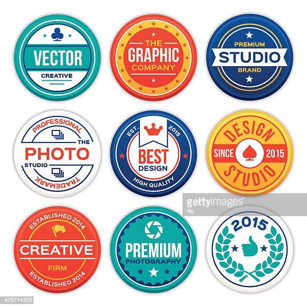 illustrazioni stock, clip art, cartoni animati e icone di tendenza di società e badge aziendale - badge