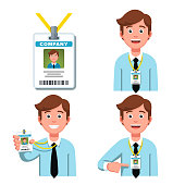 Company employee smiling  showing and pointing on his business id badge. Worker security card tag on a lanyard. Flat style vector clipart