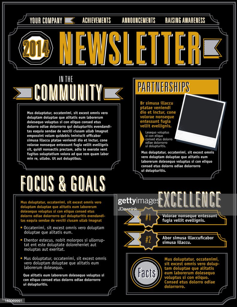 company newsletter design template yellow and black vector art