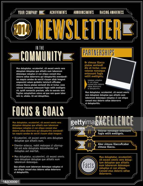 company newsletter design template yellow and black - newsletter stock illustrations