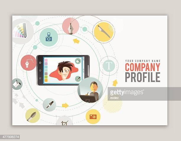 ilustrações, clipart, desenhos animados e ícones de perfil da empresa de design - portfolio