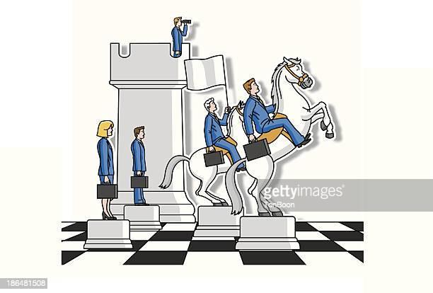 ilustraciones, imágenes clip art, dibujos animados e iconos de stock de estrategia de la empresa - tablero de ajedrez