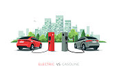 Comparing Electric Car Versus Gasoline Car with City Skyline Isolated on White Background