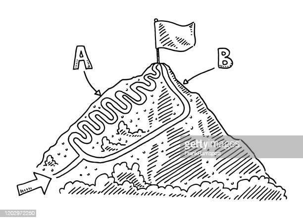 stockillustraties, clipart, cartoons en iconen met vergelijking infographic twee manieren om berg top tekening te bereiken - letter b