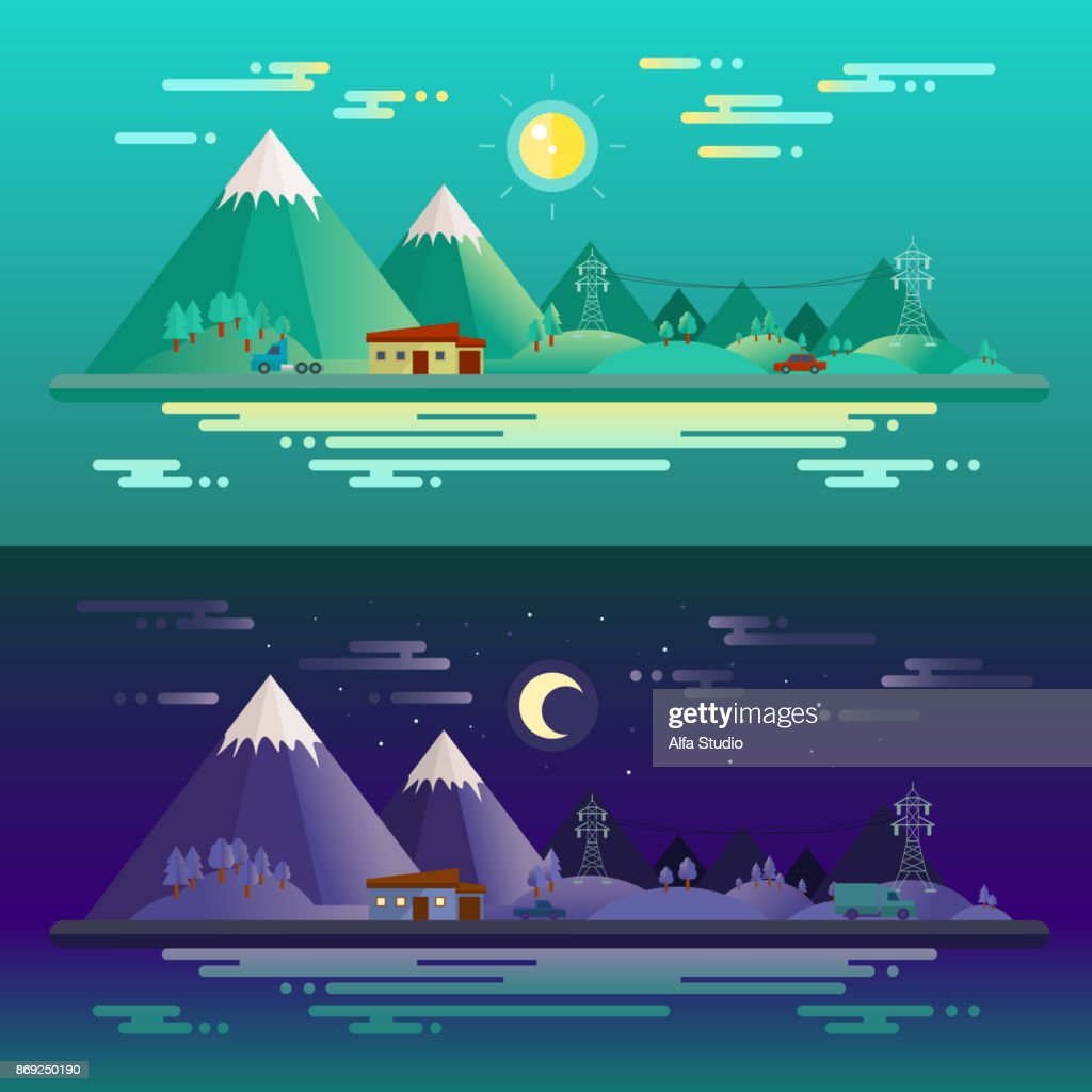 A comparison of day and night. Vector image.
