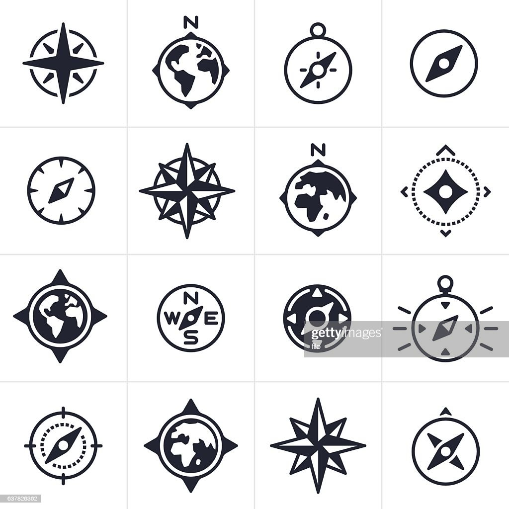 Compass and Map Navigation Icons and Symbols : ストックイラストレーション