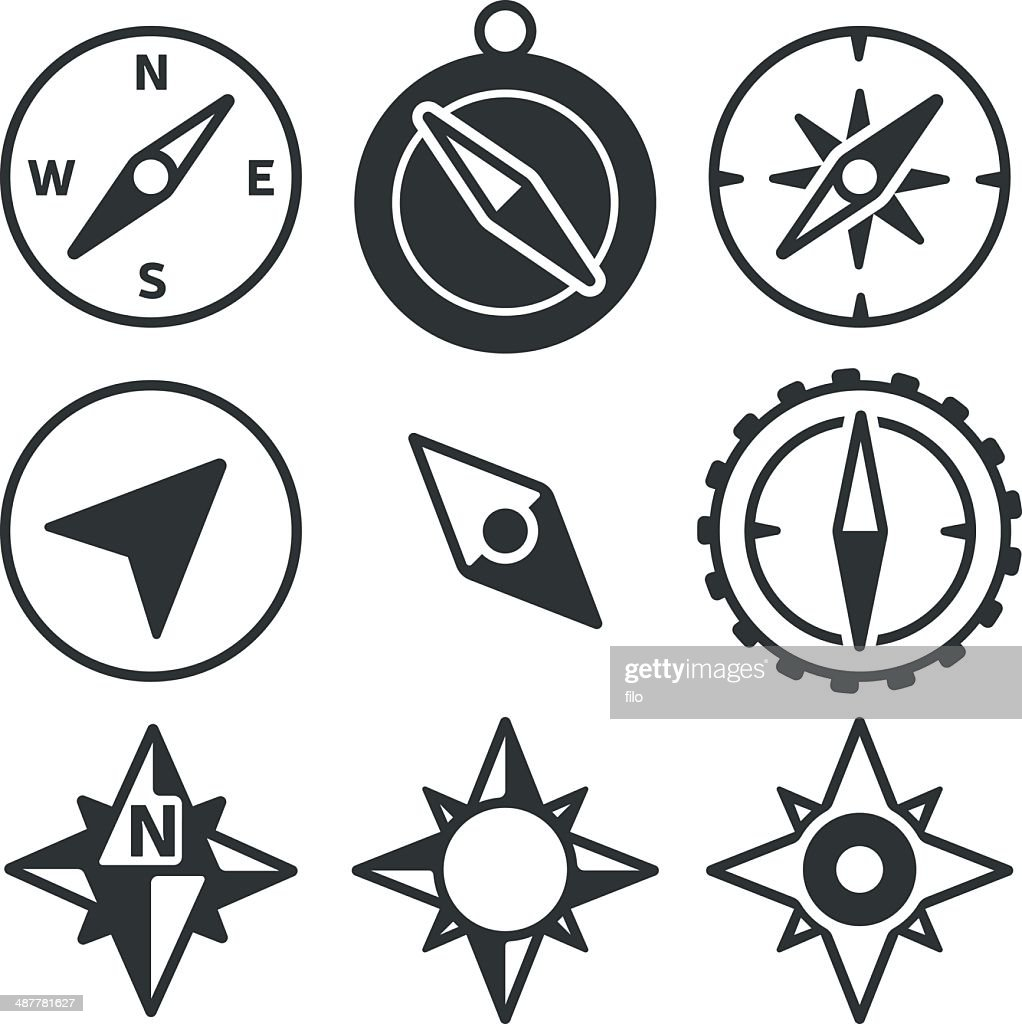 Compass and Navigation Icons : Stock Illustration