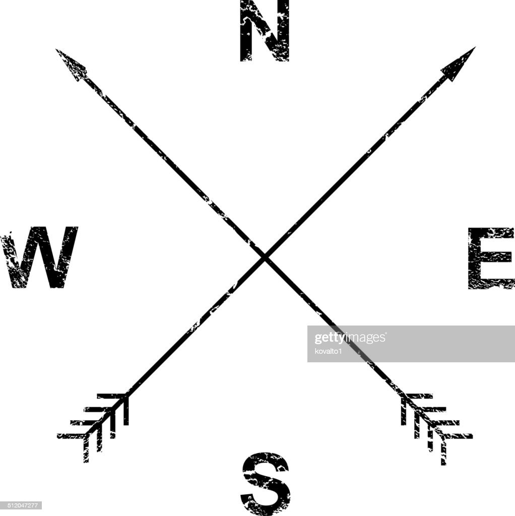 Compass, arrows, grunge design
