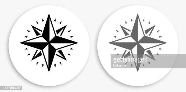 kompass schwarz-weiß runde symbol - westen stock-grafiken, -clipart, -cartoons und -symbole