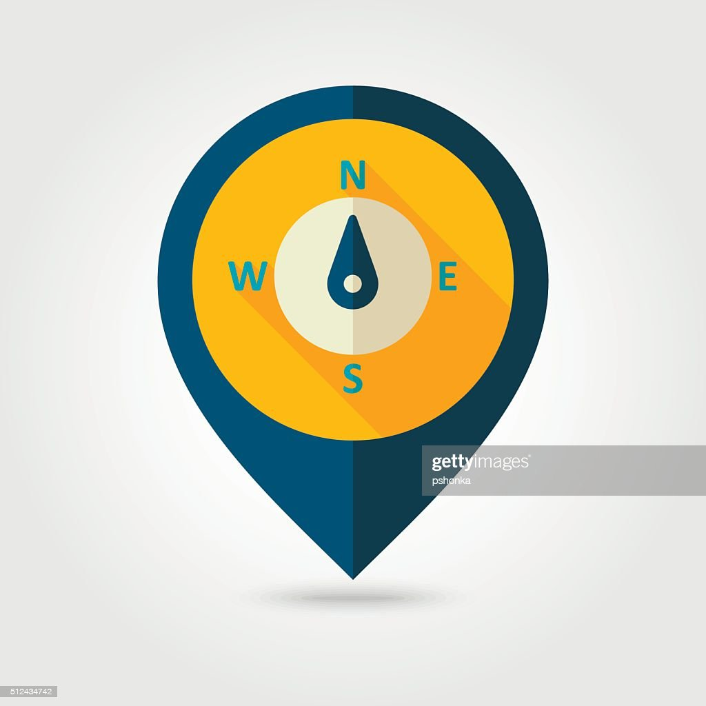 Compass flat pin map icon. Meteorology. Weather