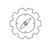 Compass icon. Line style vector EPS.