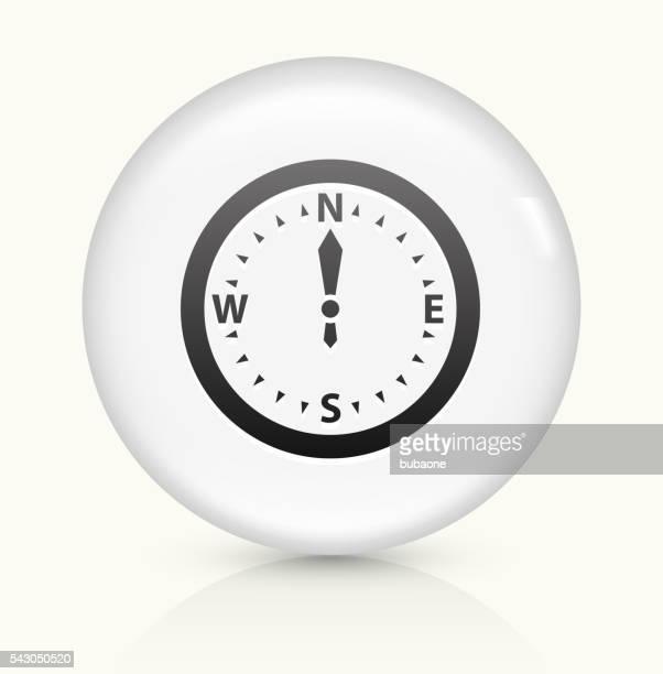 Boussole icône sur blanc vecteur rond bouton