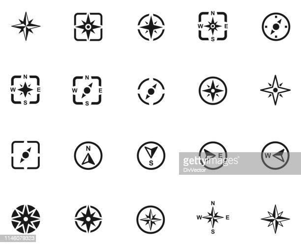 compass icon set - north stock illustrations