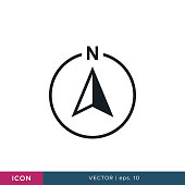 Compass icon vector design template. North Direction. Editable eps 10.