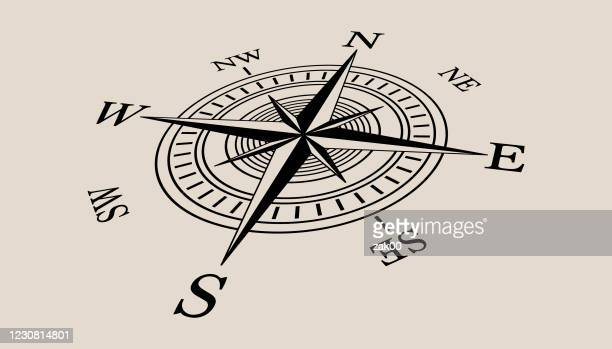 compass icon - west direction stock illustrations