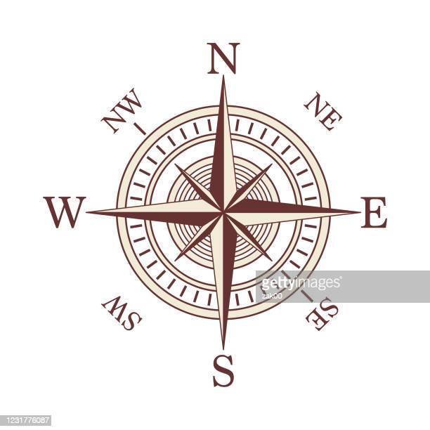 stockillustraties, clipart, cartoons en iconen met pictogram kompas - oost