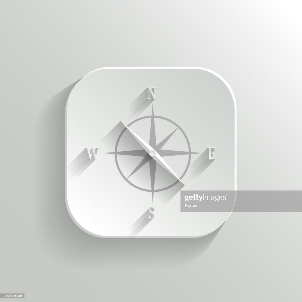 Compass icon - vector white app button