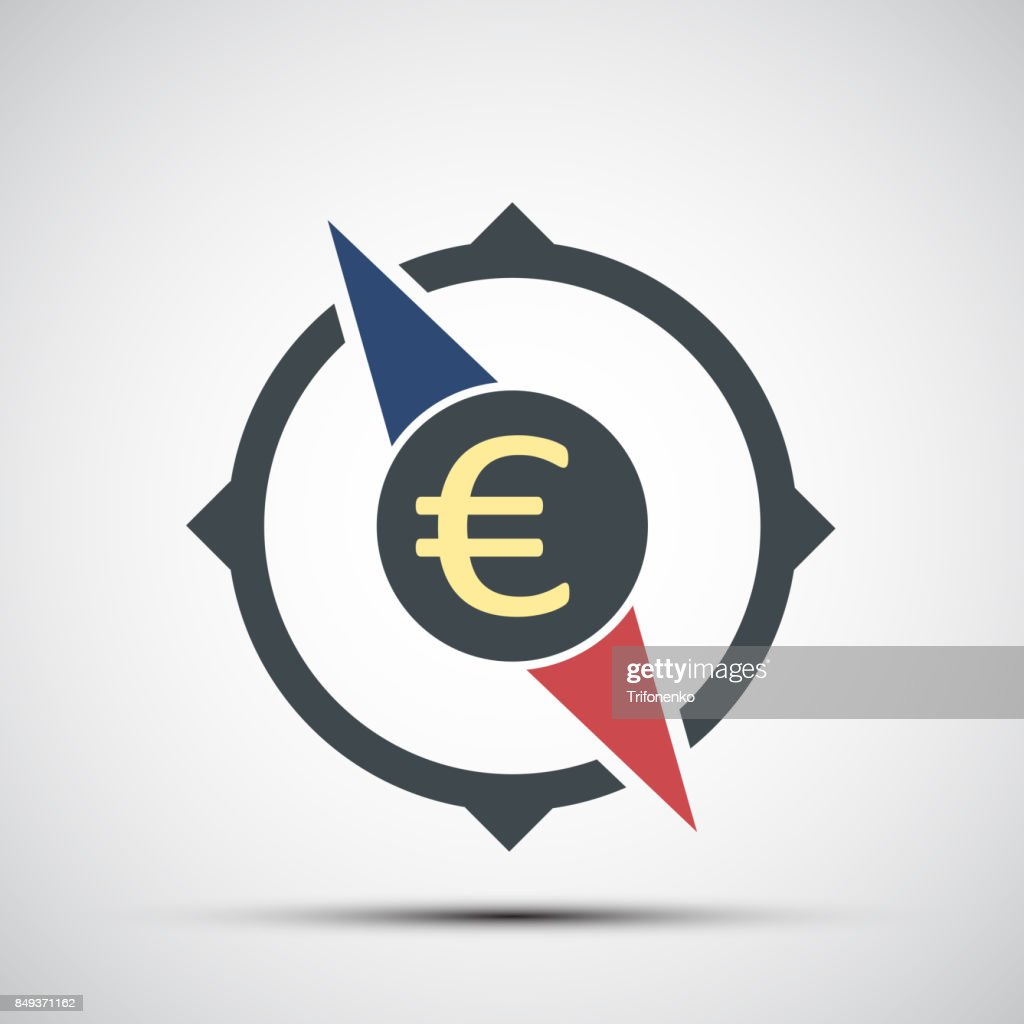 Compass icon with euro currency sign