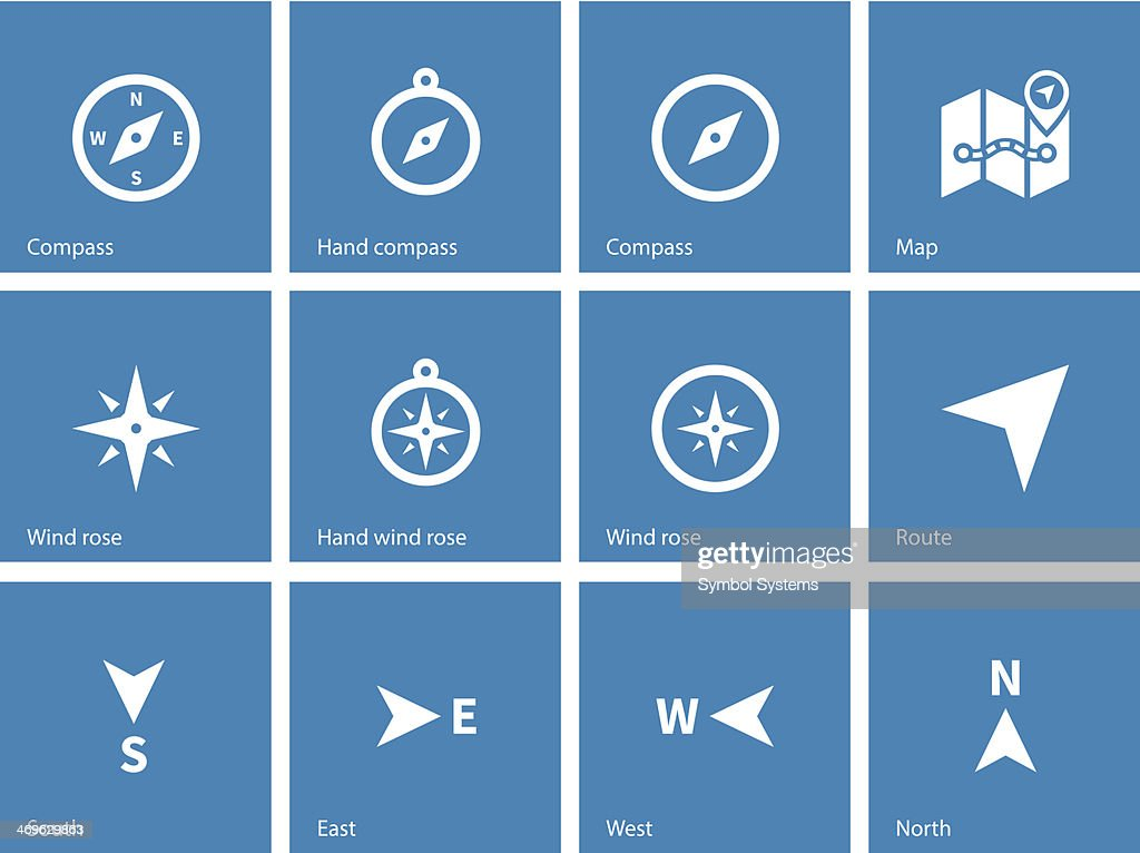 Compass icons on blue background.