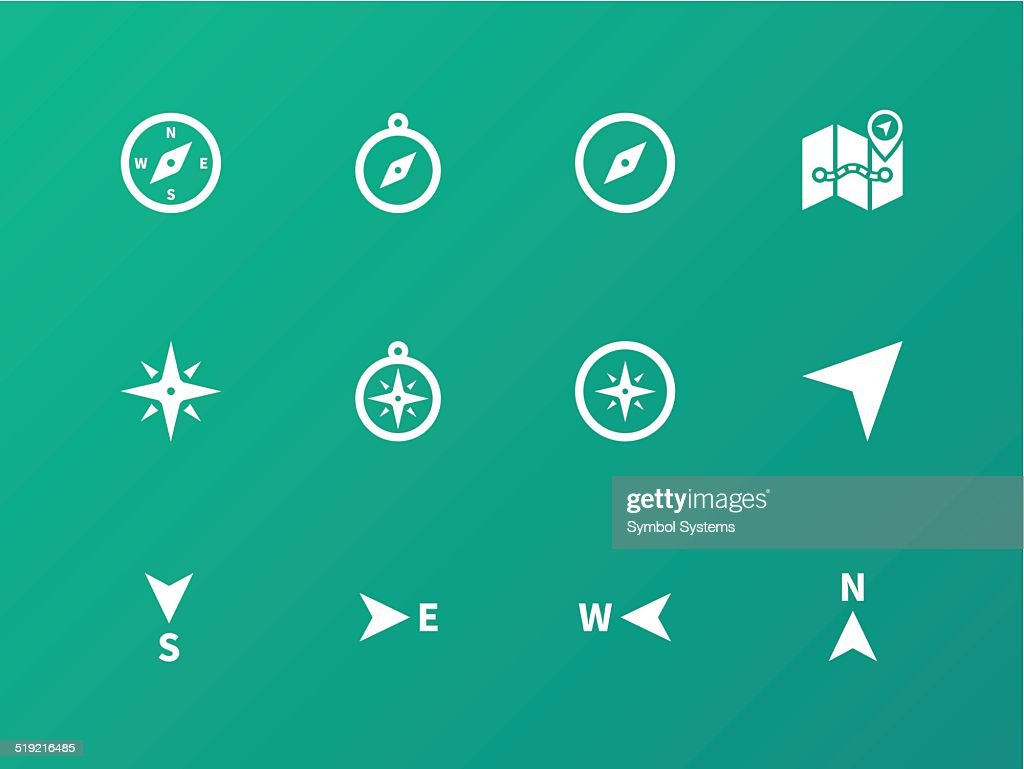 Compass icons on green background.
