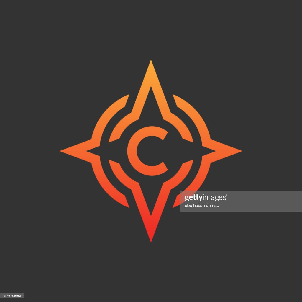compass initial Letter C icon design