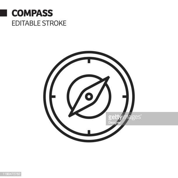 illustrations, cliparts, dessins animés et icônes de icône de ligne de boussole, illustration de symbole de vecteur de d'contour. pixel perfect, avc modifiable. - boussole